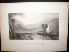After Turner 1860 Antique Print, Apollo and Daphne in the Vale of Tempe